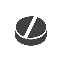 Pill icon in black on a white background. Vector illustration