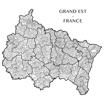 Detailed map of the region of Grand Est, France including all the administrative subdivisions (departments, arrondissements, cantons, and municipalities). Vector illustration