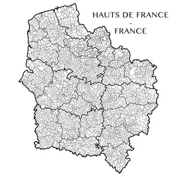 Detailed map of the region of the Hauts de France including all the administrative subdivisions (departments, arrondissements, cantons, and municipalities). Vector illustration