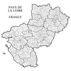 Detailed map of the region of Pays de la Loire, France including all the administrative subdivisions (departments, arrondissements, cantons, and municipalities). Vector illustration