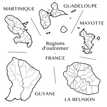 Detailed map of the overseas regions Martinique, Guadeloupe, Mayotte, Guyane, and Reunion (France) including all the administrative subdivisions (from region to municipalities). Vector illustration