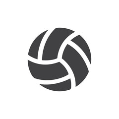 Volleyball icon in black on a white background. Vector illustration