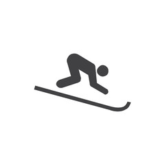 Skier icon in black on a white background. Vector illustration
