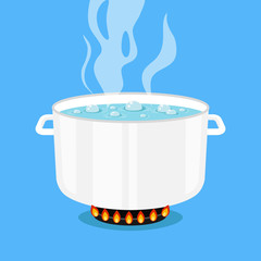 Boiling water in pan. White cooking pot on stove with water and steam. Flat design graphic elements. Vector illustration