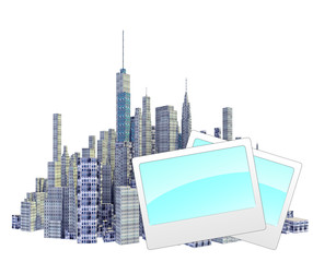 Rendered 3d city skyline with photo frames isolated on white background