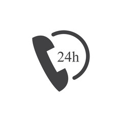 Phone with 24 icon in black on a white background. Vector illustration