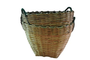 Empty old overlap bamboo basket isolated on white background with clipping path .