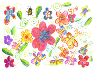 Child's drawing butterfly, ladybug and flowers