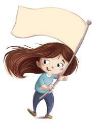 niña con bandera