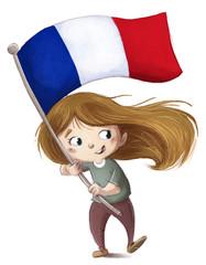 niña con bandera de francia