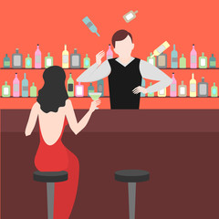 Barman show. Night life in bar. Juggler Man juggle. Alcoholic cocktails and bottles icon set.