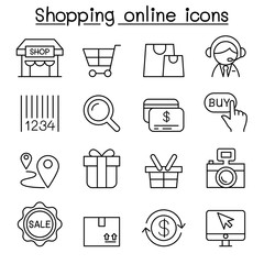 Shopping online , Internet shopping icon set in thin line style