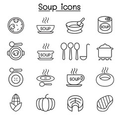 Soup icon set in thin line style
