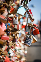 Love lock on bridges