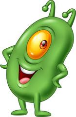Cartoon green plankton posing