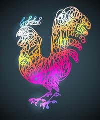 Vector illustration rooster pattern.