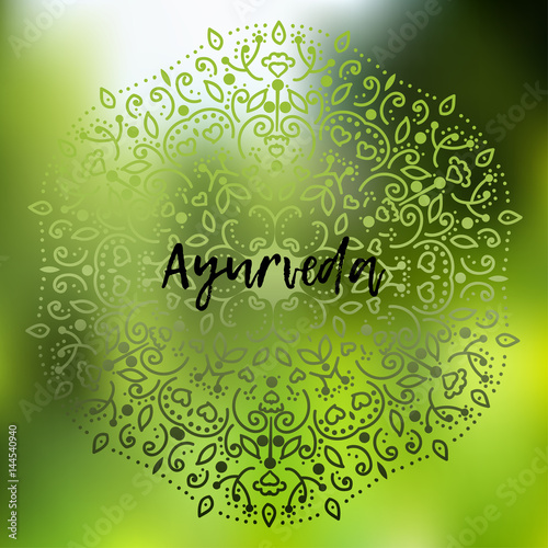 Ayurveda Vector Ilration Poster Background Template With Fl Ornament On A Blurry In Green Tones The Inscription