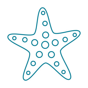 Contour Starfish. Template for the design of goods with a marine theme.