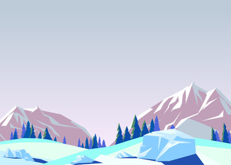 Vector illustration the background of snowy mountains.