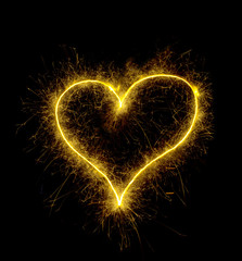 Sparkling heart symbol, love and light