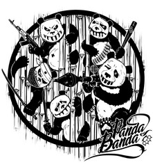 Drawing by hand. Revenge of pandas. Cartoon stylized characters. Illustration.