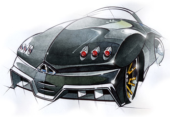 A sketch of the design of a modern futuristic sports car. Illustration.