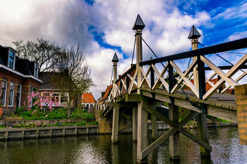 Wall Mural - Historic wooden bridge in Hindeloopen. The Netherlands