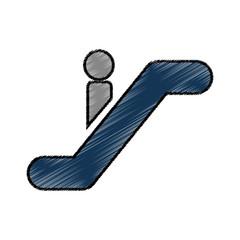 person silhouette in escalators vector illustration design