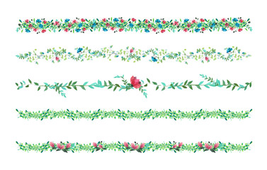 Vector Floral vines, border, liana with leaves and flowers. drawing wat
