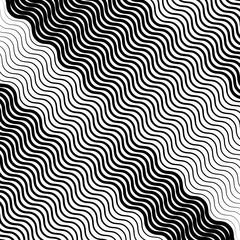 Wavy, undulating lines geometric monochrome pattern. Slanted lines with waving distortion