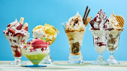Ice cream desserts variety