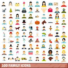 100 family icons set, flat style