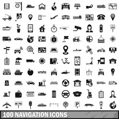 100 navigation icons set, simple style