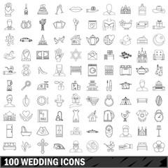 100 wedding icons set, outline style