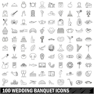 100 wedding banquet icons set, outline style
