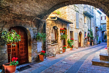 Charming old street of medieval towns of Italy, Umbria region Wall mural