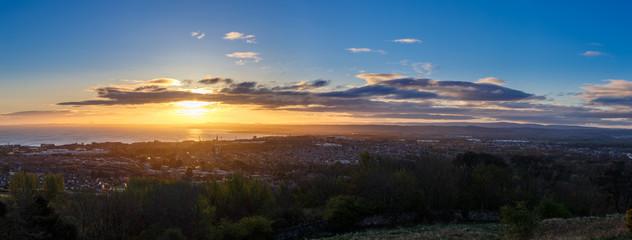 Panoramic view of  Arthur's seat in Edinburgh, Scotland