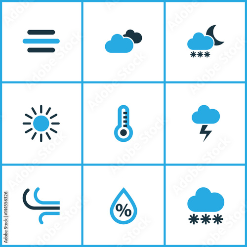 Weather Colored Icons Set Collection Of Thermometer Blizzard