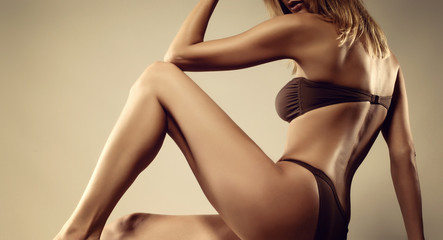 woman with perfect slim beautiful body care