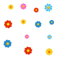 Color flowers on white background