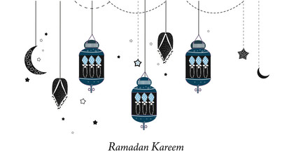 Ramadan Kareem with lamps, crescents and stars. Traditional black lantern of Ramadan background