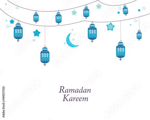 Ramadan kareem with lamps crescents and stars traditional lantern ramadan kareem with lamps crescents and stars traditional lantern of ramadan greeting card m4hsunfo