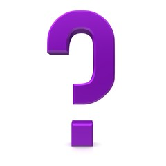 question mark 3d illustration rendering isolated purple lila violet