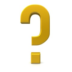 question mark gold yellow 3d isolated business symbol cut off three-dimensional icon sign