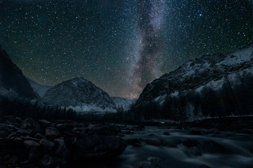 Night in Altay mountains. Russia.
