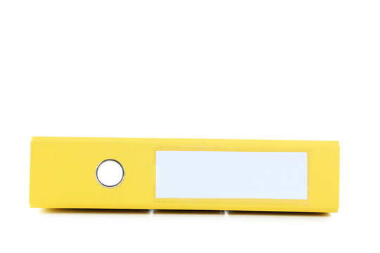 Yellow office folder isolated on a white