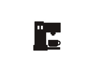 Flat vector coffee machine