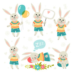 Set of illustrations with rabbits. Cartoon style. Different poses