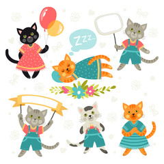 Set of illustrations with cats. Cartoon style. Different poses