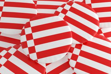 German States Badges: Pile of Bremen Flag Buttons, 3d illustration
